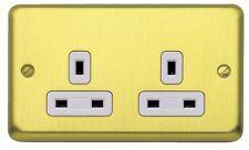 Satin Brass 2-Gang Plug Socket Home Electrical Fittings