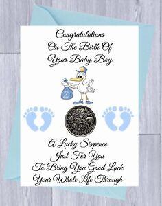 LUCKY SIXPENCE, NEW BABY Gift NEWBORN Gift  BOY/GIRL , STORK,  Gift Card