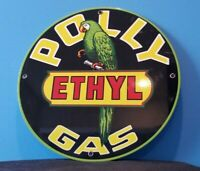 VINTAGE POLLY ETHYL GASOLINE PARROT PORCELAIN SERVICE STATION WILTSHIRE SIGN