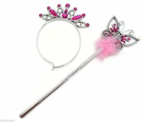 Butterfly Princess Fairy Wand and Tiara Girls Wand Ribbons Fancy Dress Plastic