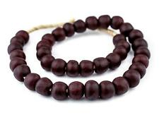 Red Black Swirl Recycled Glass Beads 18mm Ghana African Sea Glass Round Handmade
