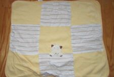 Baby yellow blue brown stripe thermal receiving blanket cow Vitamins squares