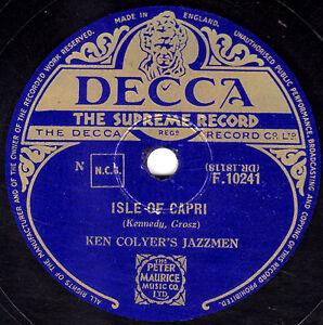 GREAT  KEN COLYER  JAZZMEN  78  ISLE OF CAPRI / GOIN' HOME  UK  DECCA F 10241 E-