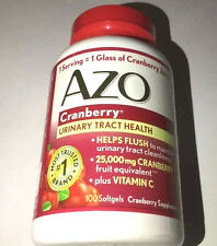 AZO Cranberry Urinary Tract Health Supplement, 25,000mg,100 Softgels Free Ship!