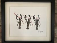 Trio of European Lobsters, Original Watercolour Painting, Signed Art Not A Print