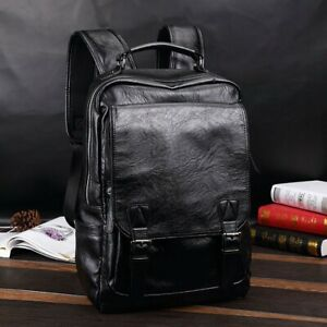 Men's Leather Backpack Shoulder Bag Weekender Travel Laptop Notebook School Bags