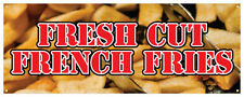 Fresh Cut French Fries Banner Carnival Concession Stand Store Sign 36x96