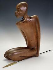 ANTIQUE FRANZ HAGENAUER AUSTRIA ART-DECO CARVED WOODEN AFRICAN FIGURE SCULPTURE