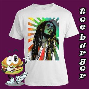 Bob Marley Reggae Retro Rainbow White T-shirt