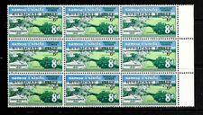"1966 Western Samoa block of 9 stamps o/pd ""Hurricane Relief"" in unmounted mint"