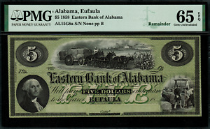 1858 $5 Obsolete - Eufaula, Alabama - Eastern Bank of Alabama - PMG 65 EPQ