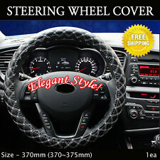 Rachel Car Steering Wheels Leatherette Cover Cap White Stitch Size - 370mm