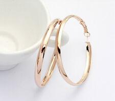 18K Rose Gold GP Big Round Hoop Fashion Jewelry Ear Lady Earrings BR780