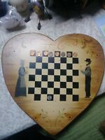 Folk Art Chess Board Checkerboard Theorem Painting Signed Vintage Primitive Art