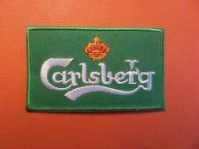 """CARLSBERG"""" BEER  green & white Embroidered 2 x 3-1/2 Iron On Patch"""