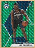 2019-20 Panini Mosaic Zion Williamson Green reactive Prizm #209 N.O Pelicans