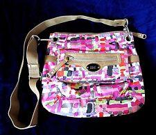 Tyler Rodan Crossbody Bag Purse Geometric Print Magenta Pink & Tan