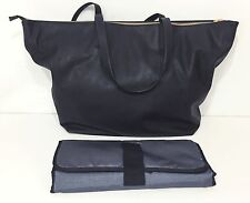 POTTERY BARN KIDS Black Vegan Leather Presidio Diaper Bag Tote, NEW - NO MONO