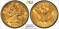 "1893-S $5 * PCGS MS63 "" GOLD Shield "" LIBERTY Head Half EAGLE Dollar * FROSTY !!"