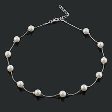 Women Noble Fashion Cute Pearl Gold/Silver Bib Choker Statement Collar Necklace