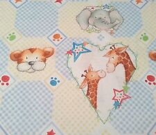 Cuddle Time Paw Prints Quilting Treasures BTY Giraffe Elephant Lion Baby Blue
