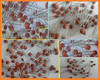 Condensateur céramique THT 50V 6,8pF à 100nF lot de 1 à 20 pieces