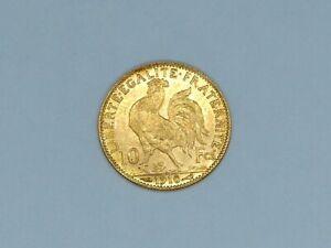 Pièce OR 10 Francs. Coq-Marianne.1910. Monnaies OR. TTB