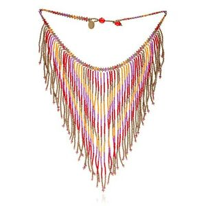 Azuni London NEW! Dreamcatcher Red & Orange Beaded Fantail Necklace