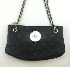 DKNY Leather Shoulderbag Purse Black Quilted Crossbody Chainlink Donna Karan