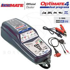 TecMate OptiMate 4 Dual Program Caricabatterie con Reculero di Batteria 12V - Nero (TM-340)