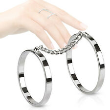 Women's Ring Brass Ring with Chain Double Ring Partner Ring Friendship Rings