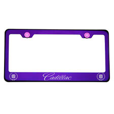 Laser Engraved Cadillac Blue Purple Chrome License Plate Frame Stainless Steel