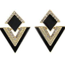 Retro Triángulo Pendientes de botón Aretes cristal pendiente Joyería Earring