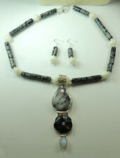 Statement Dendritic Opal Moonstone Snowflake Obsidian Necklace & Earrings Set