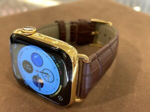 44mm Apple Watch Series 4 Stainless Steel Custom 24K Gold Plated Brown Leather B