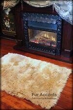 Tan Shag Carpet Toss Rug Plush Faux Fur Accent Throw Fake Sheepskin Kids Play