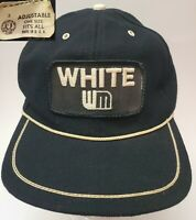 Vintage Snapback Hat Cap Large Patch White Motors WM Trucker Black Braid USA