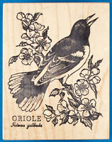 PSX K-1275 Oriole Rubber Stamp - Bird on Branch with Flowers and Scientific Name
