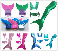 3pcs Tops Panties Mermaid Tail Swimwear Monofin Flipper for Kid Girls' Swimming