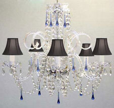 Blue Crystal Chandelier Chandeliers Lighting with Black Shades!
