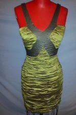 BCBG Maxazria gathered golden green/silver grey mini stretchy dress sz S 4-6 New