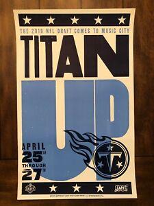 Tennessee Titans 2019 NFL Draft Hatch Print Poster - Nashville, TN - Titan Up