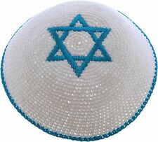 knitted kippah white cotton with Star of David, Kippot for Jewish men, yamulkes