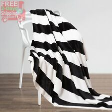 Black And White Striped Throw Blanket Home Cool Accessories Flannel Super Soft