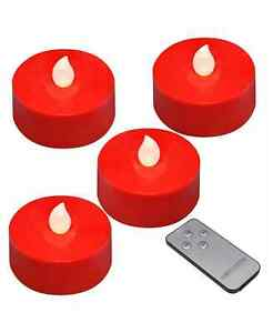 Lumabase Battery Operated Extra Large Tea Light Candles Remote Control Set of 4
