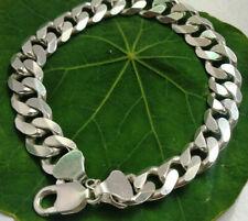 """925 Sterling Silver Men's Solid Cuban Curb Design Bracelet 9"""" 55 Gram 11 mm Wide"""