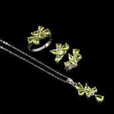 Unheated Pear Green Peridot 6x4mm Cz White Gold Plate 925 Sterling Silver Sets