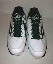 Men's Baseball Shoes Adidas PowerAlley 2TPU Green White New Sz 17 Athletic Shoe