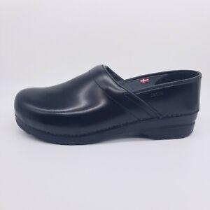 Sanita Professional Cabrio Clog Men's 48 EU / 14 US Black Leather Comfort Shoes
