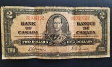 """Canadian Two Dollar Bill Canada $2 Note - 1937 Circulated HB 2319132 """"RADAR!!"""